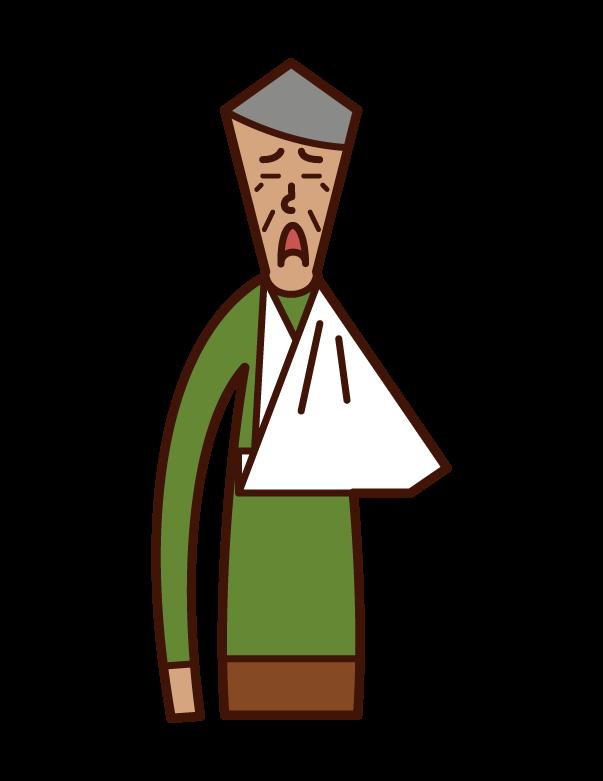 腕を骨折した老人(男性)のイラスト