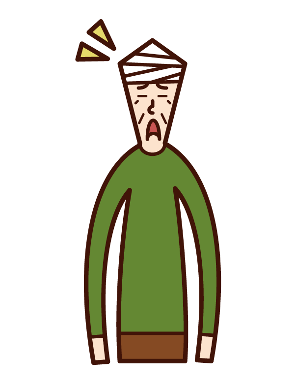頭を怪我した人・頭部外傷(男性)のイラスト