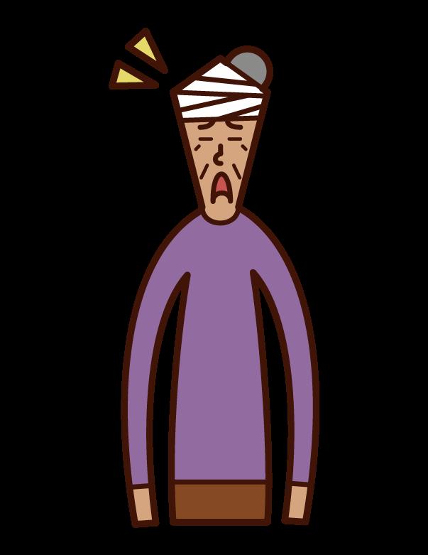 頭を怪我した人(女性)のイラスト