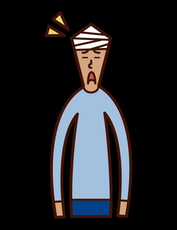 頭を怪我した人(男性)のイラスト