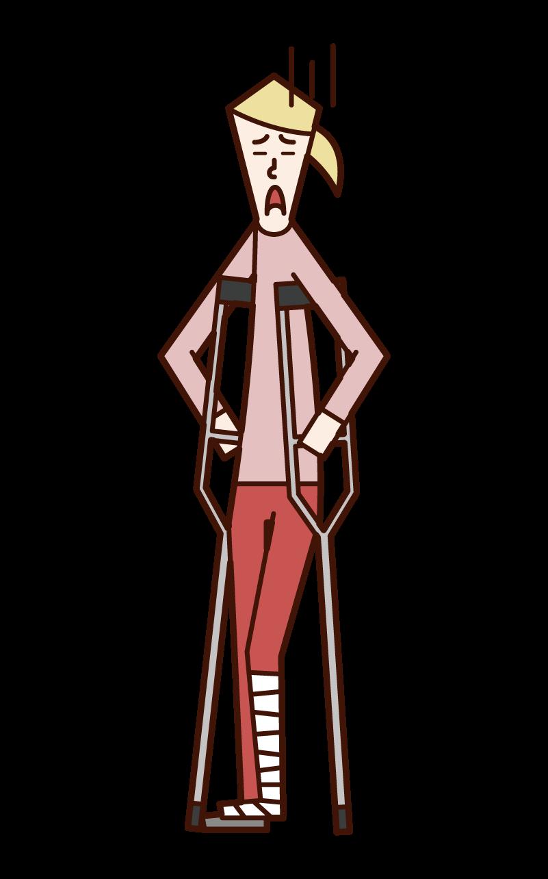 松葉杖をつく人(女性)のイラスト