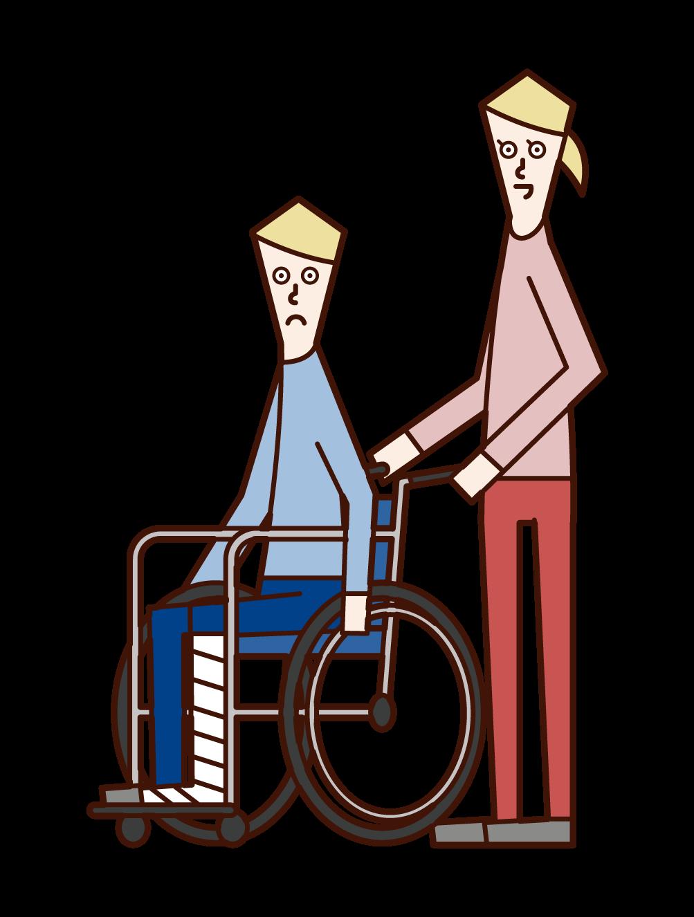 脚を骨折して車椅子に乗る人(男性)のイラスト