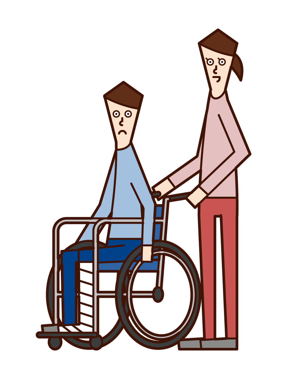 Illustration of a man in a wheelchair with a broken leg