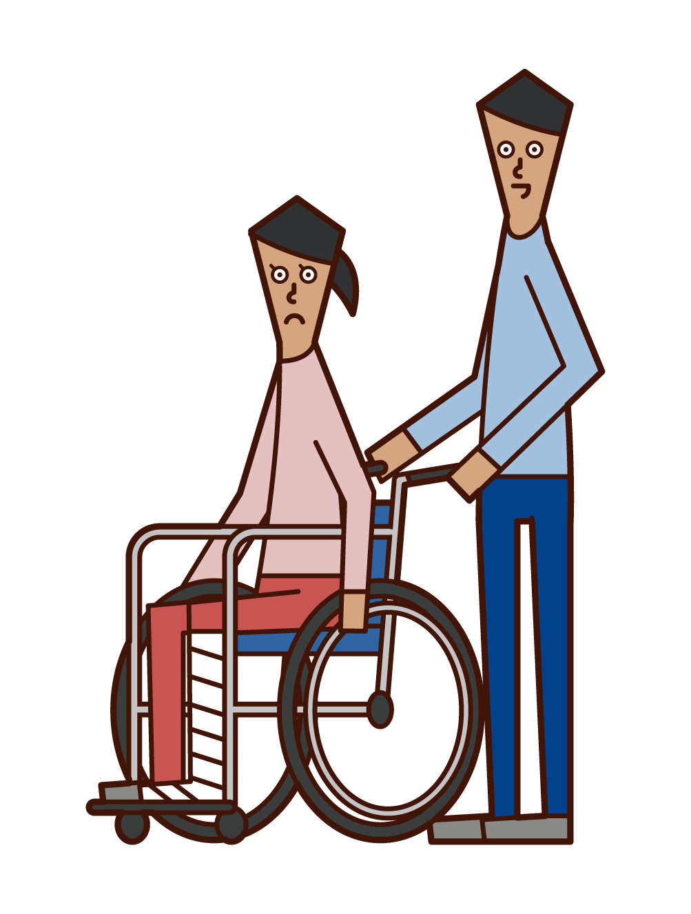 脚を骨折して車椅子に乗る人(女性)のイラスト