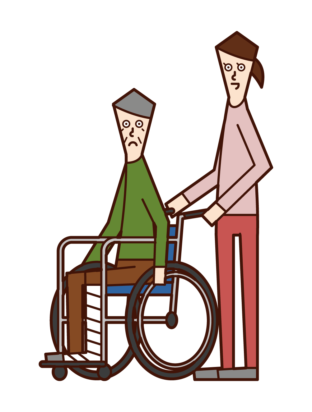 Illustration of an elderly man in a wheelchair with a broken leg