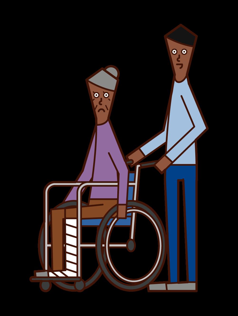脚を骨折して車椅子に乗る老人(女性)のイラスト