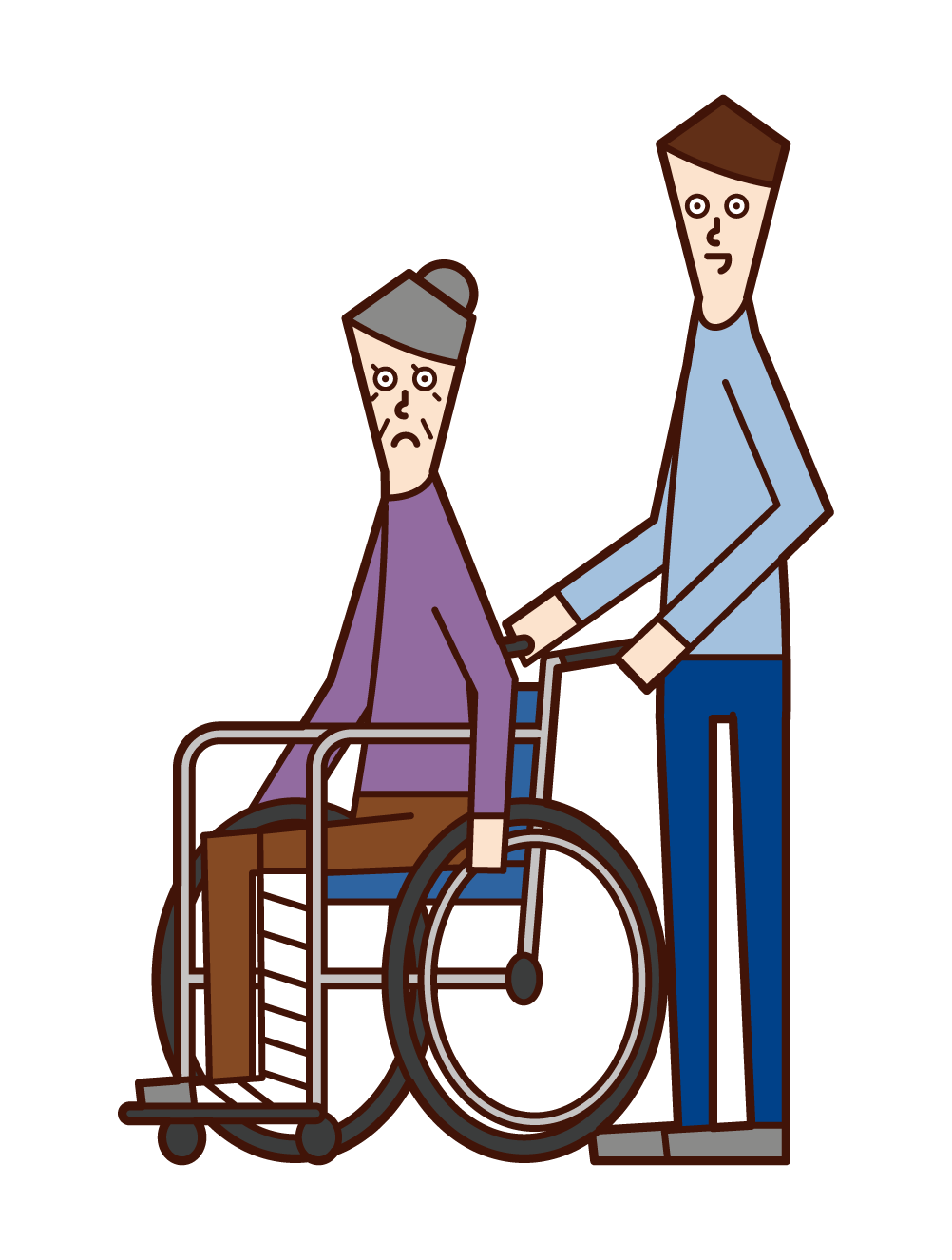 Illustration of an elderly man (woman) in a wheelchair with a broken leg
