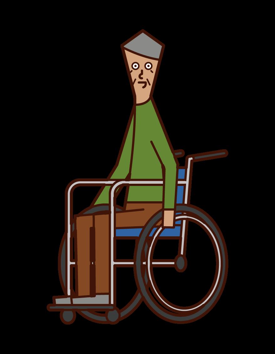 車椅子に乗る老人(男性)のイラスト