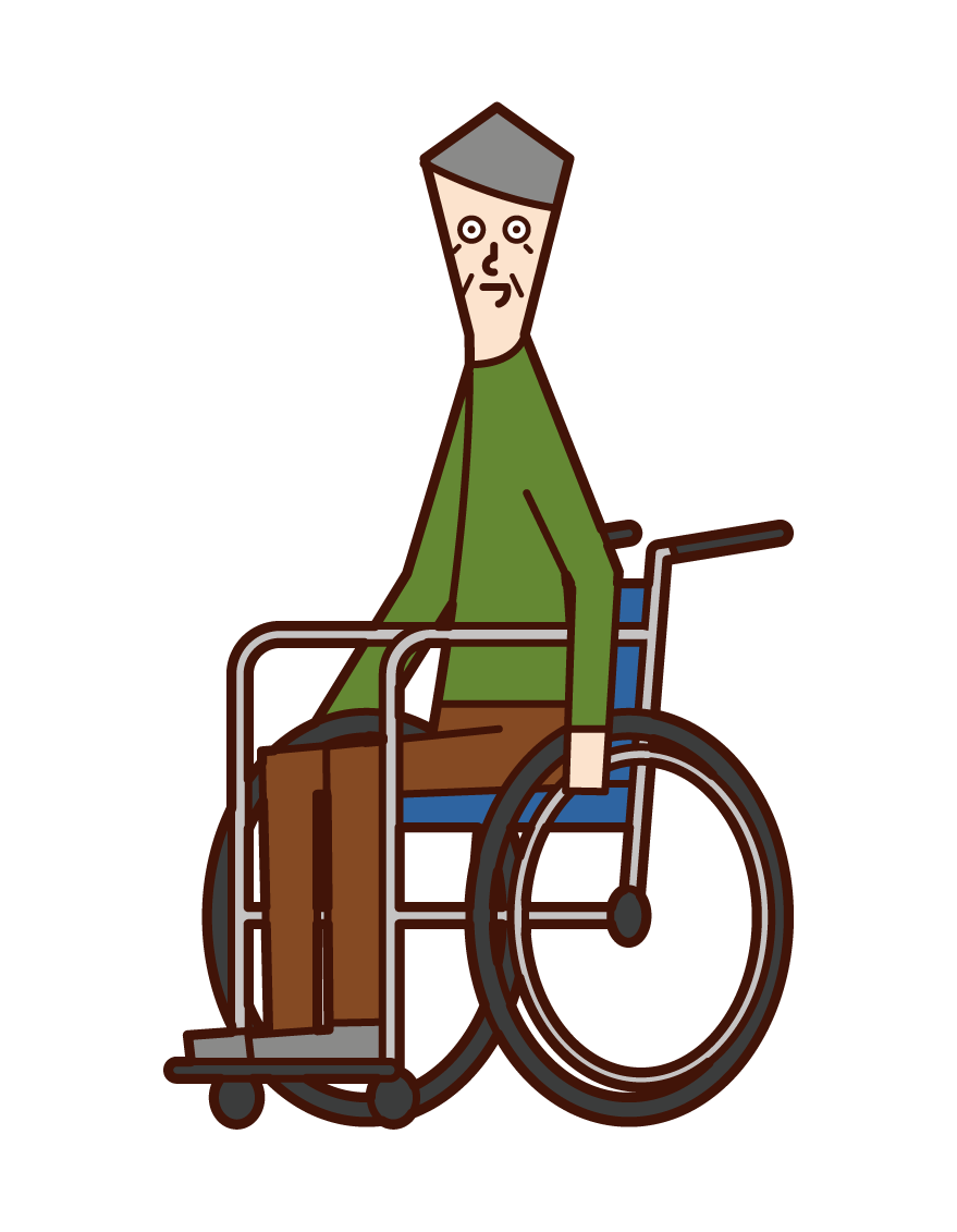 Illustration of an old man in a wheelchair