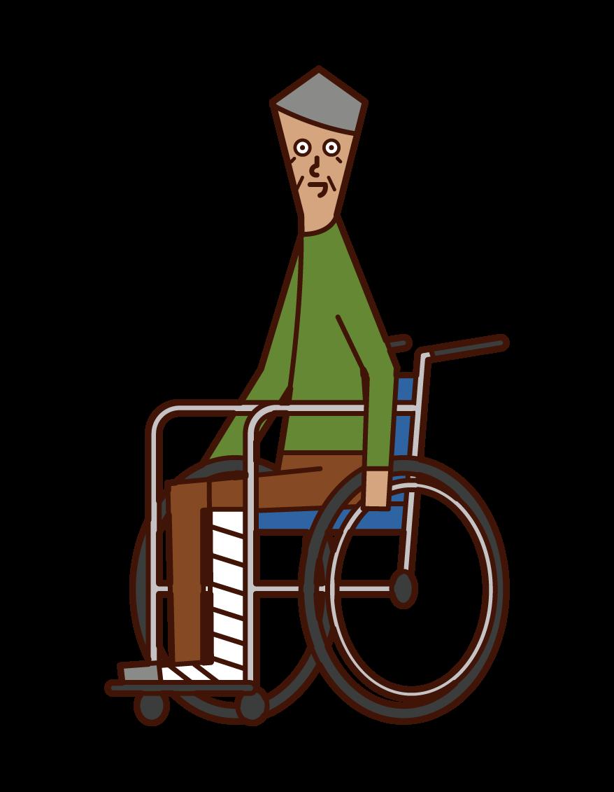 脚を骨折して車椅子に乗る老人(男性)のイラスト
