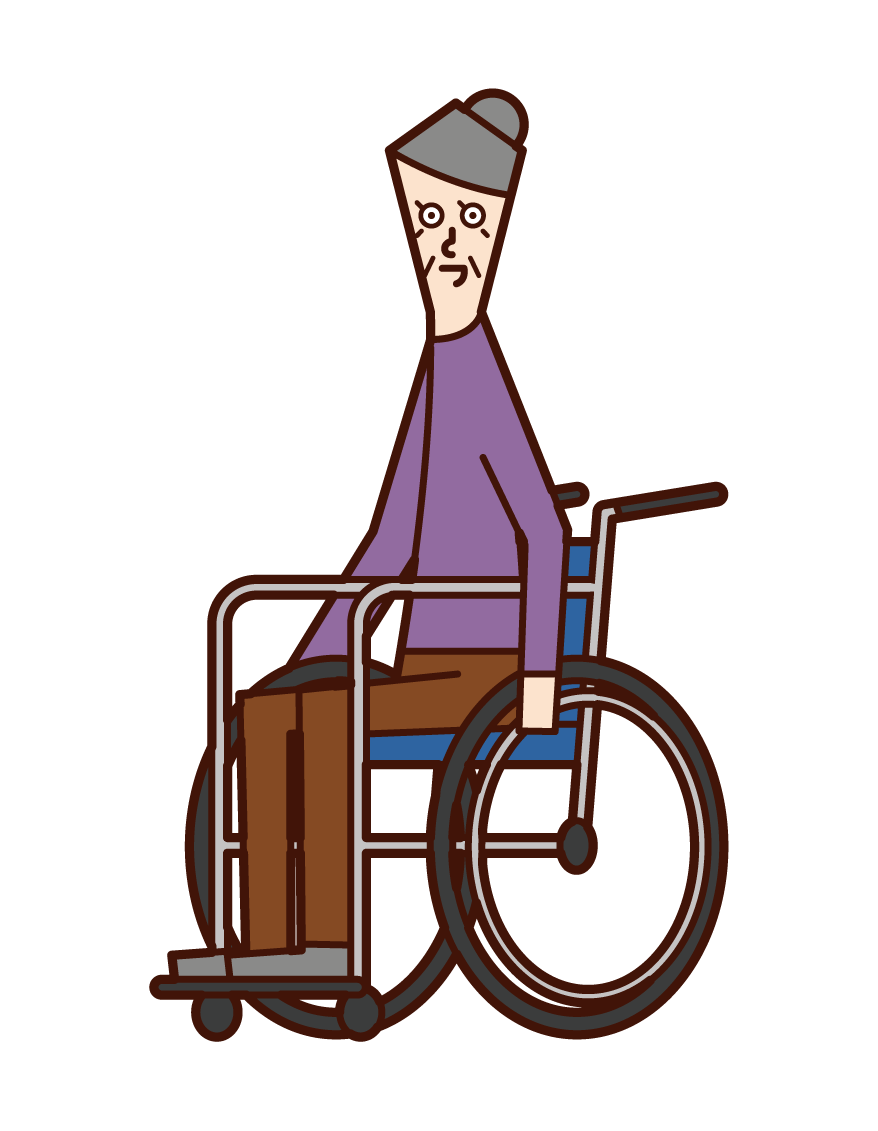 Illustration of an old man (woman) in a wheelchair