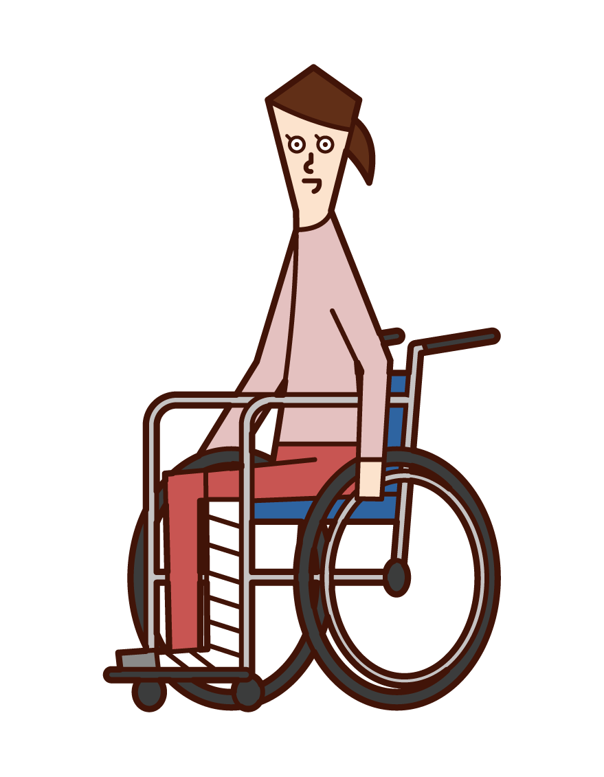 Illustration of a woman in a wheelchair with a broken leg