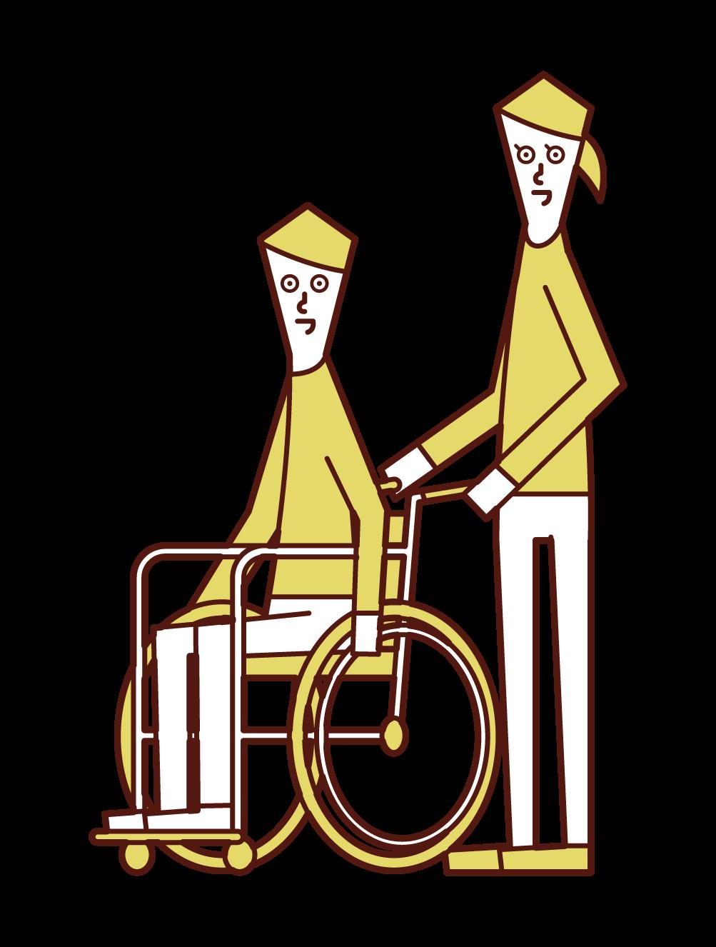 車椅子に乗る人(男性)と押す人(女性)のイラスト