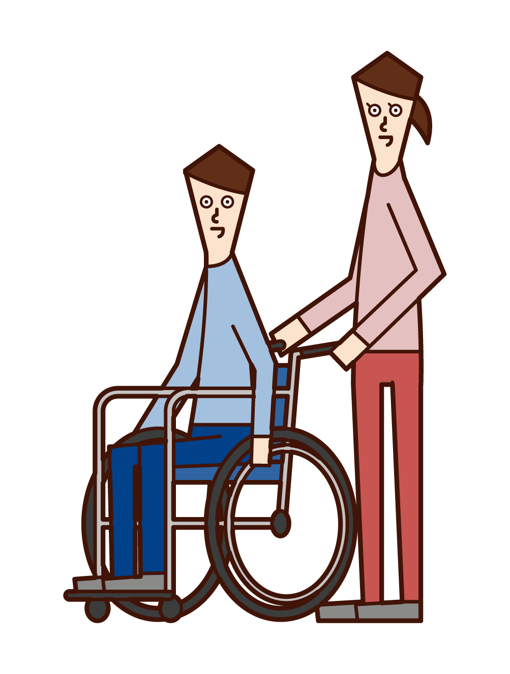 Illustration of a person in a wheelchair (man) and a pusher (woman)