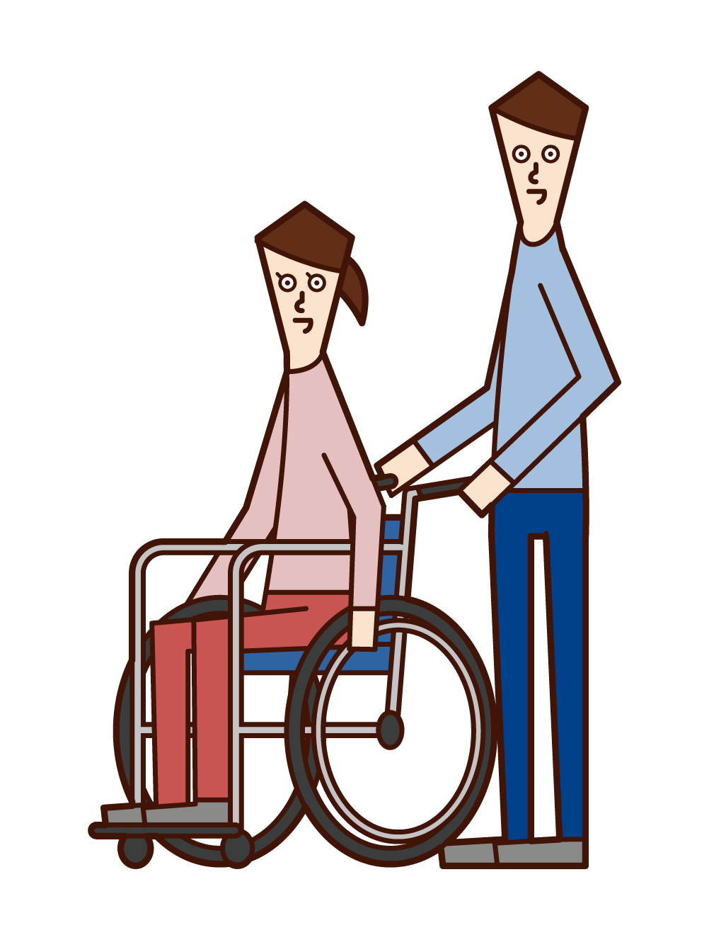 Illustration of a wheelchair person (woman) and a pusher (man)