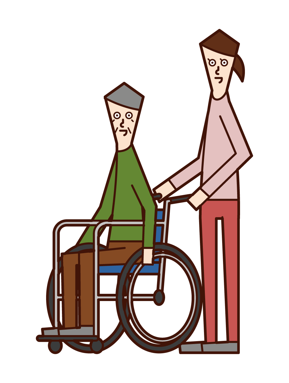 Illustration of an old man (man) and a pusher (woman) in a wheelchair