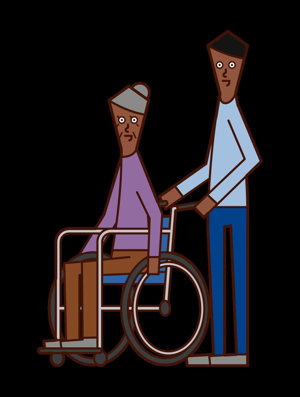 車椅子に乗る老人(女性)と押す人(男性)のイラスト