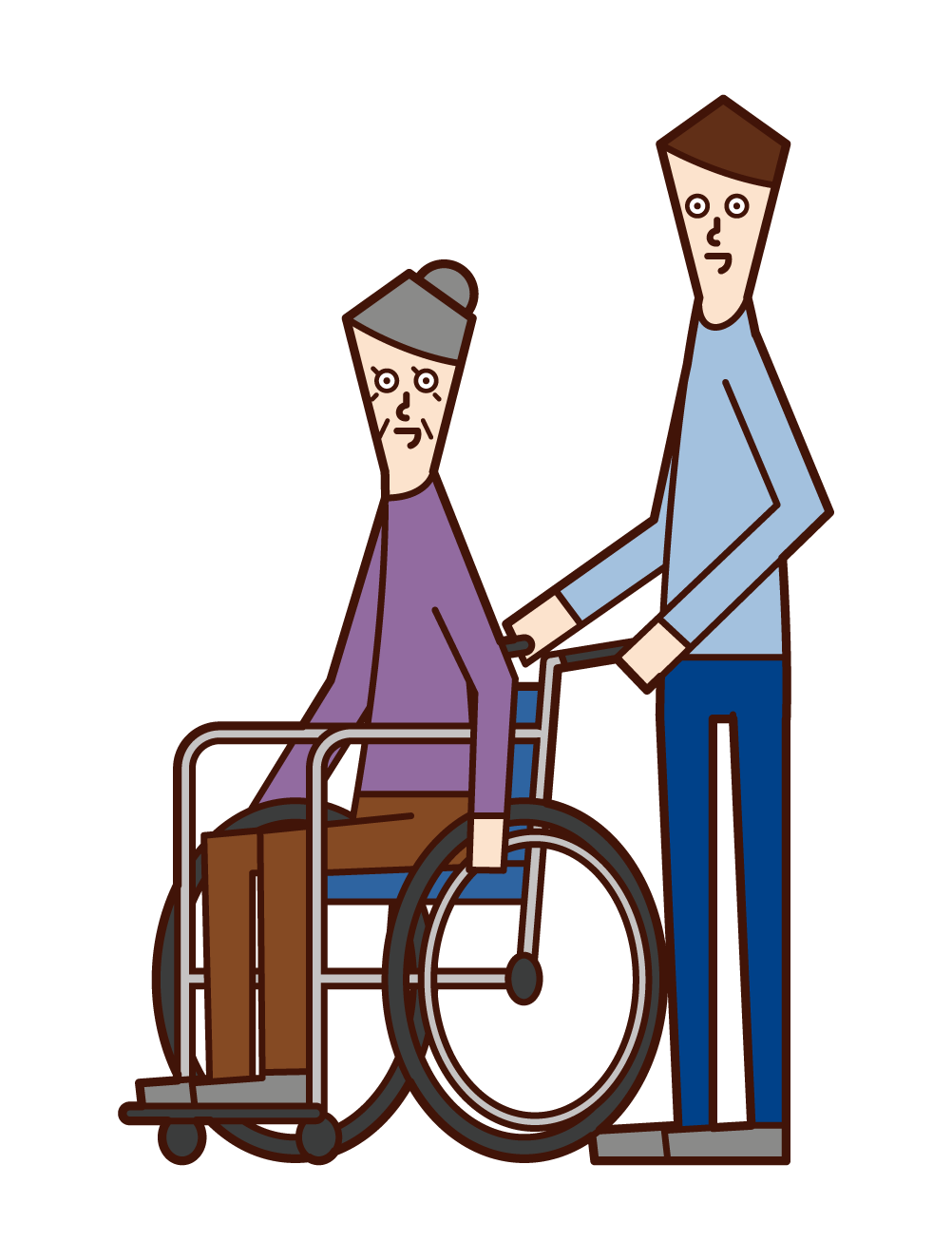 Illustration of an old man (woman) and a pusher (man) in a wheelchair