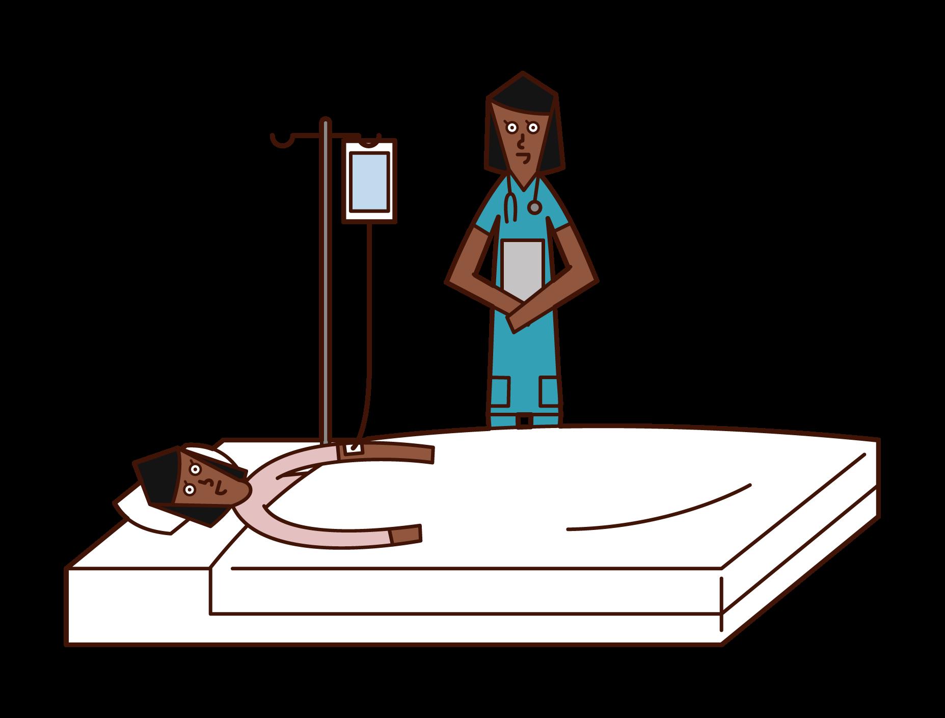点滴治療を受けている人(女性)のイラスト