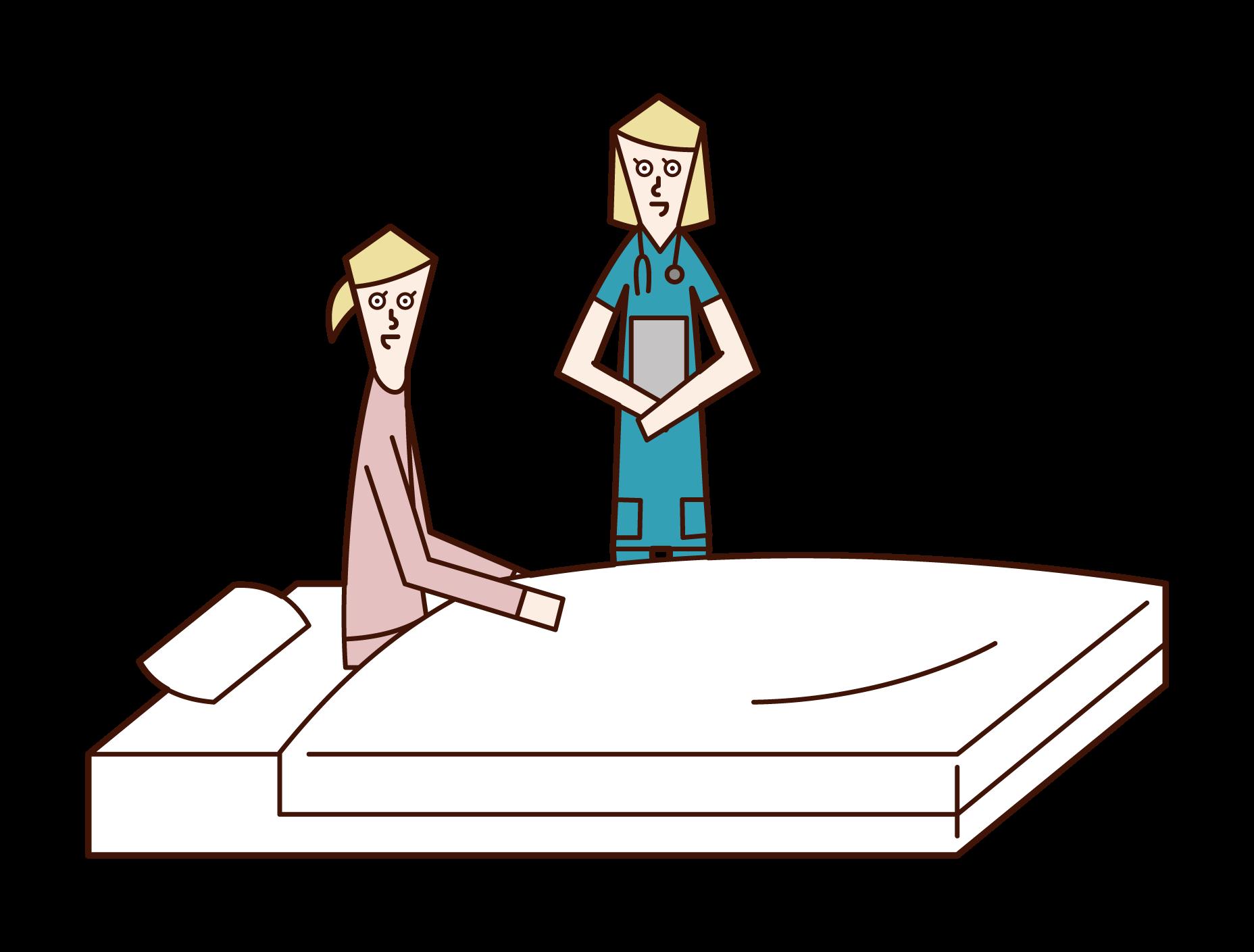看護婦と話をする入院中の人(女性)のイラスト