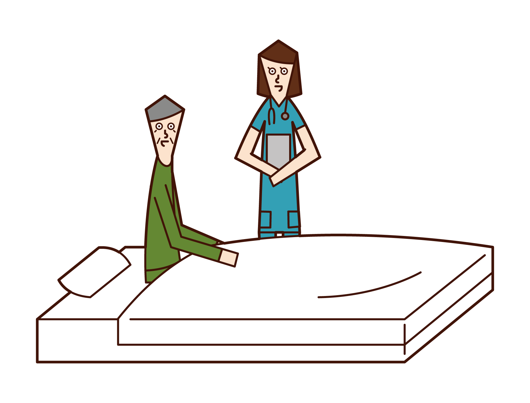 看護婦と話をする入院中の老人(男性)のイラスト