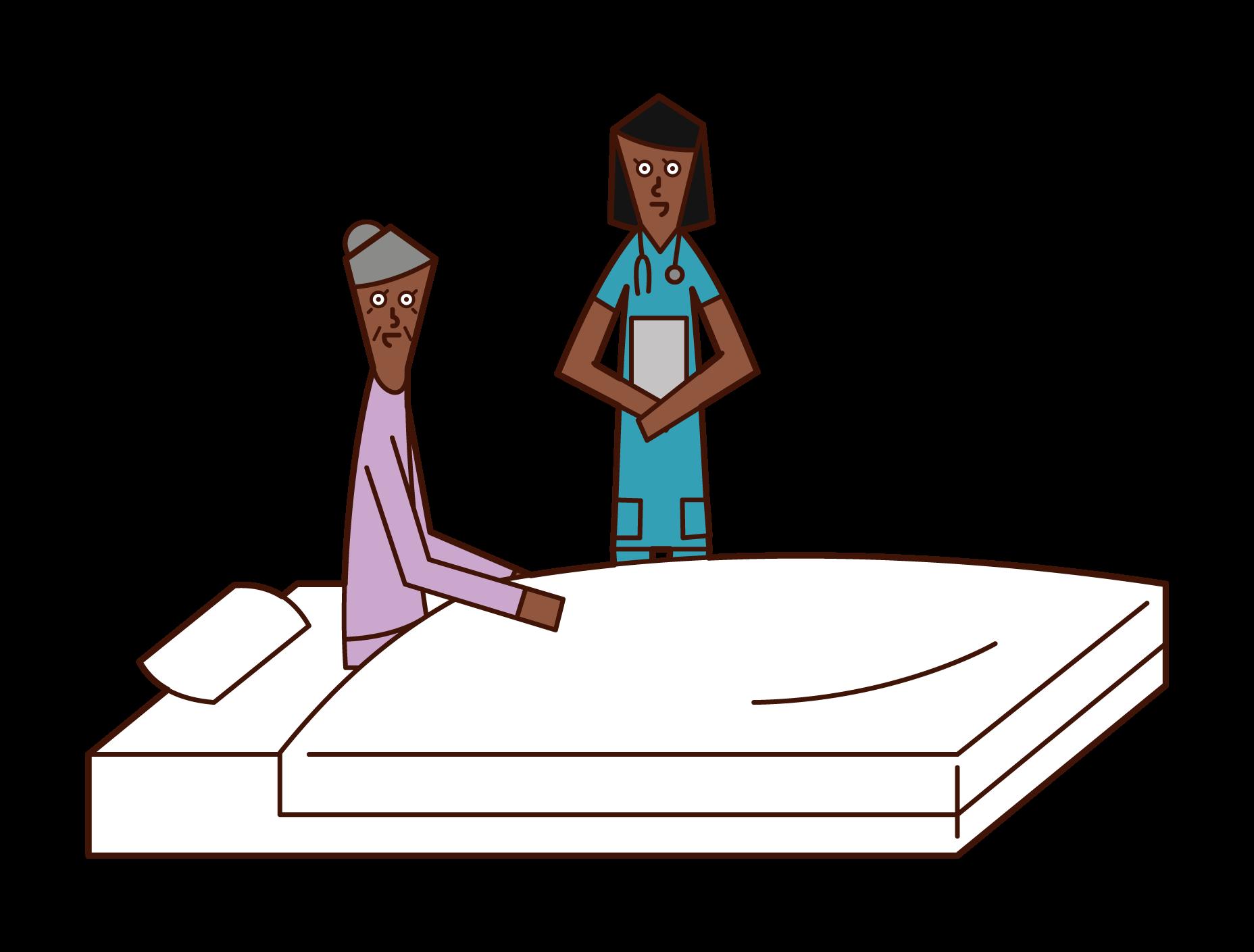 看護婦と話をする入院中の老人(女性)のイラスト