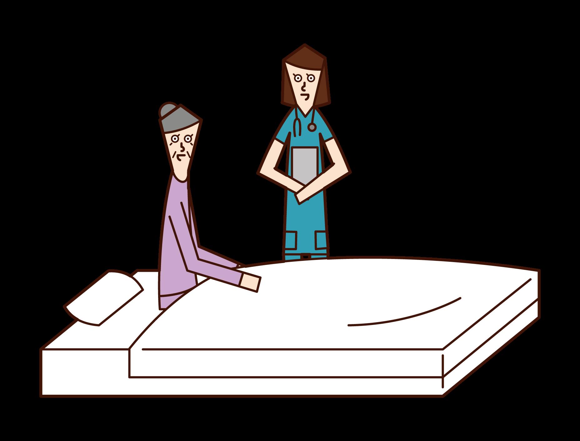 간호사와 대화하는 입원 노인 (여성)의 그림