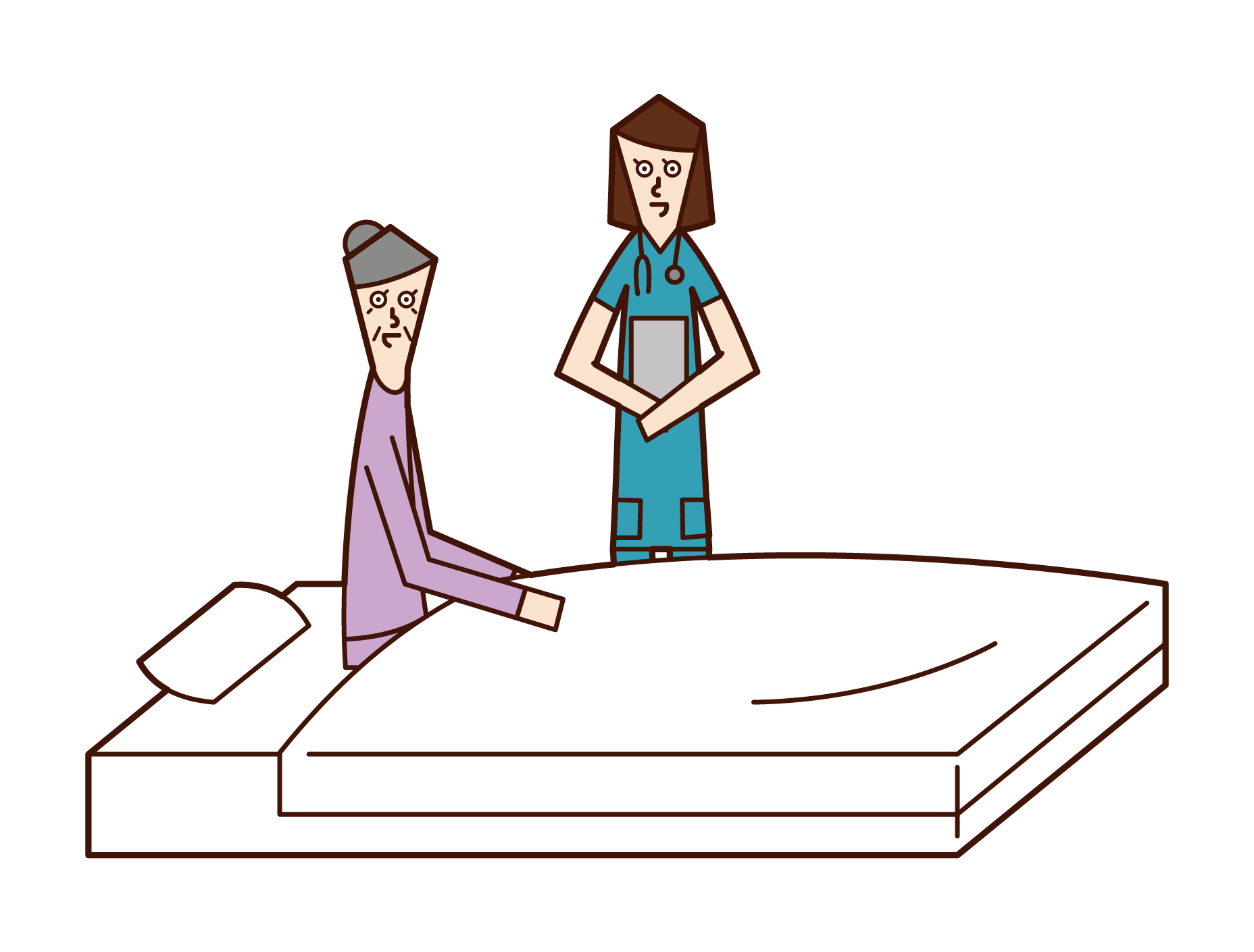 Illustration of an elderly man (woman) in hospital talking to a nurse