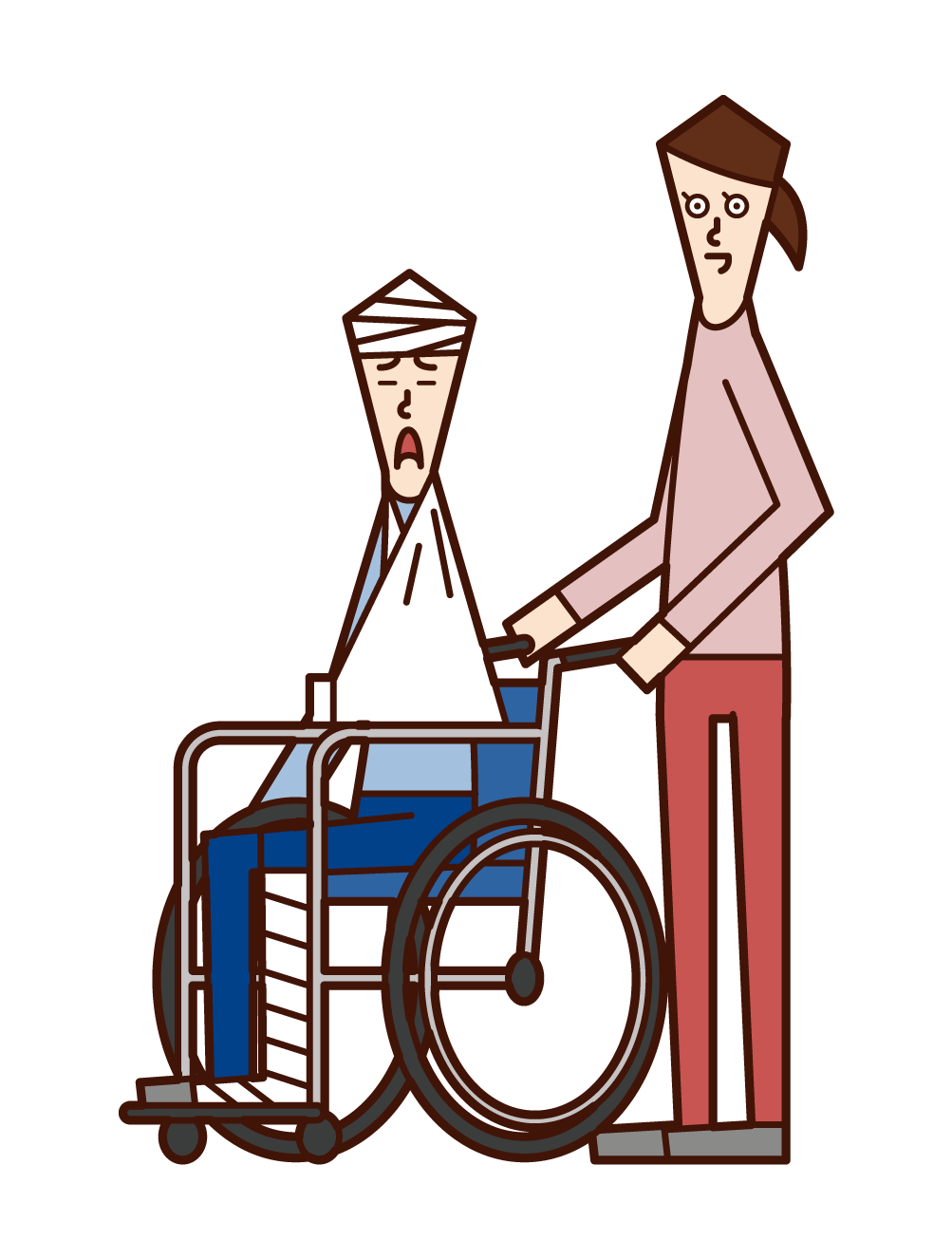 Illustration of a man who is seriously injured and in a wheelchair