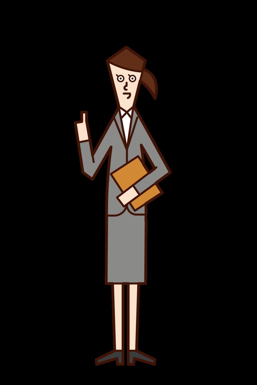 仕事をしながらお菓子を食べる人(女性)のイラスト