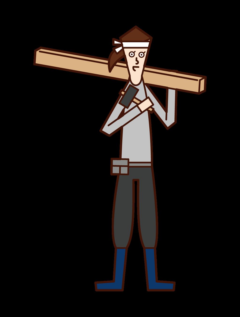 木材を運ぶ大工(女性)のイラスト