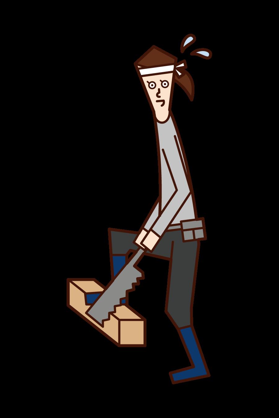木材を切る大工(女性)のイラスト