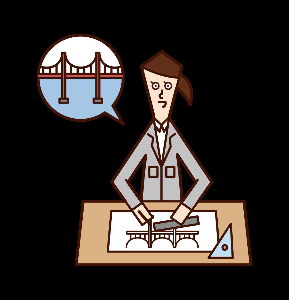 Illustration of bridge design (woman)