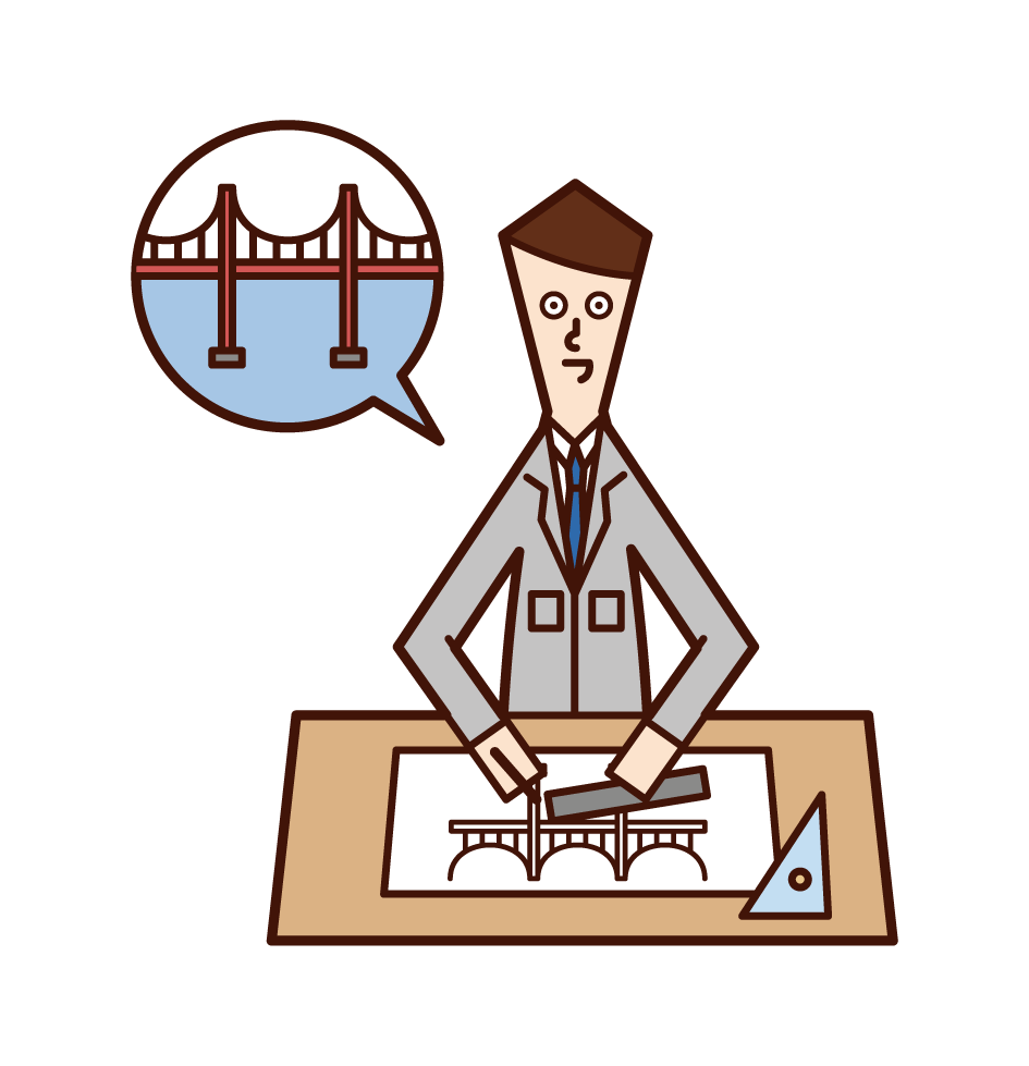 Illustration of bridge design (man)
