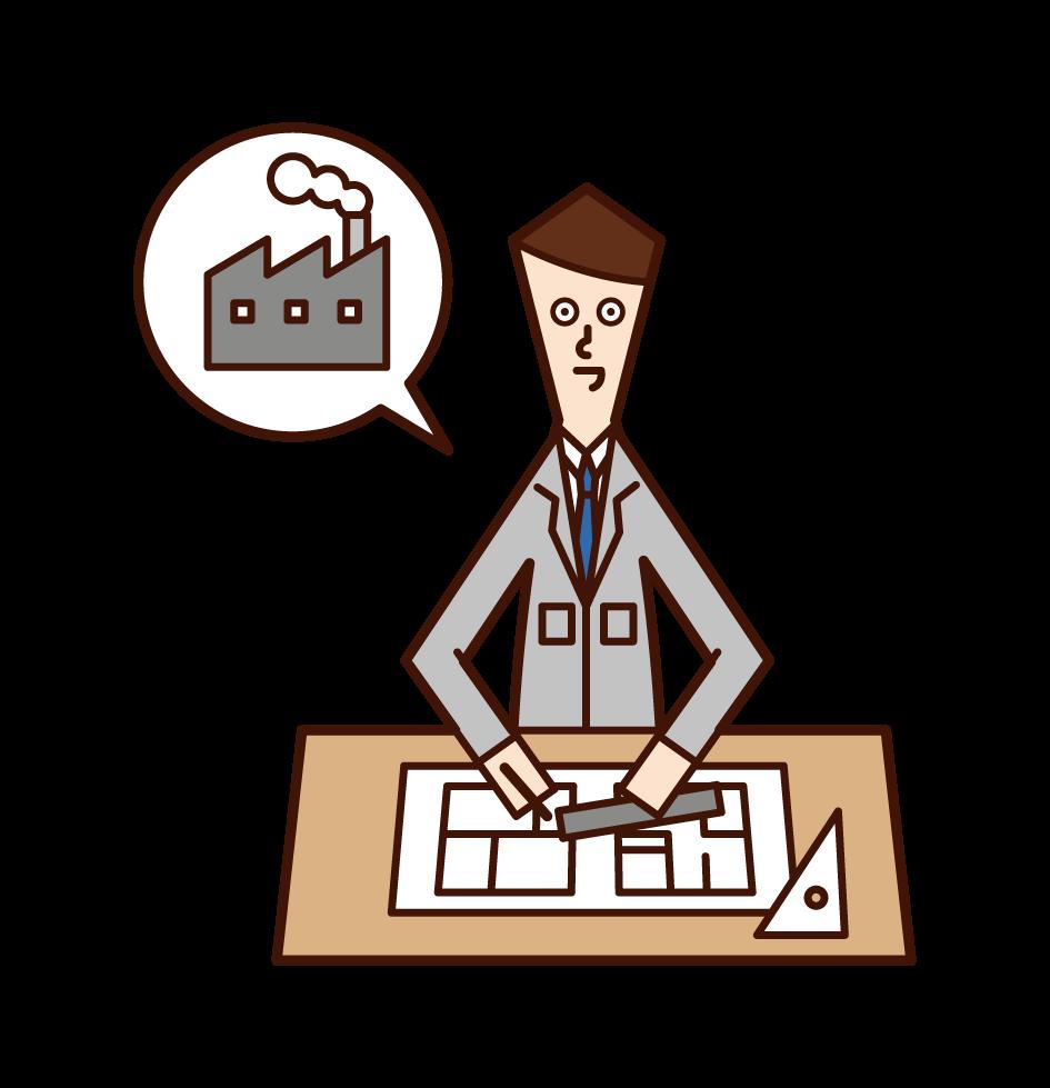 Illustration of factory design (man)