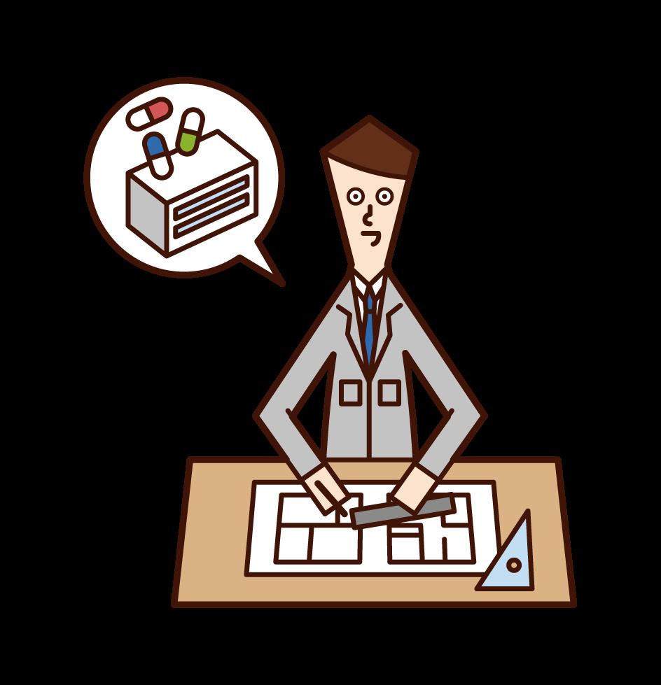医薬品研究施設設計(男性)のイラスト
