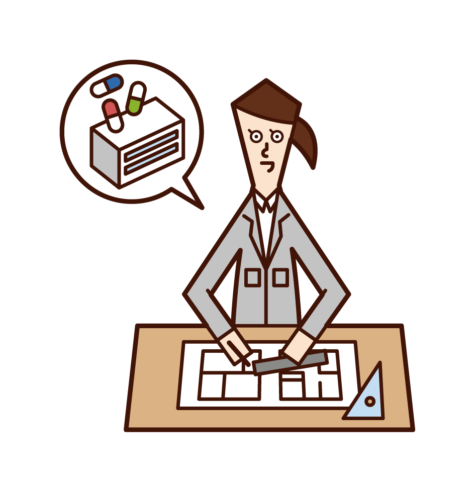 医薬品研究施設設計(女性)のイラスト
