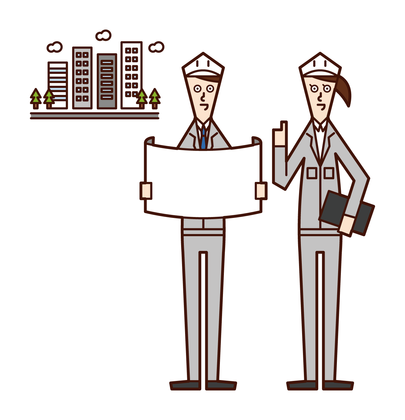 Illustration of a person developing an urban area
