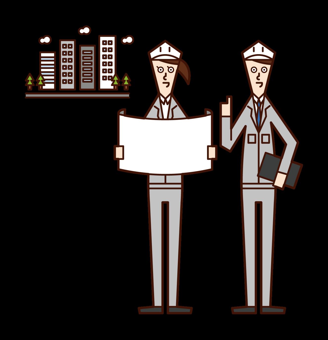 Illustrations of urban developers