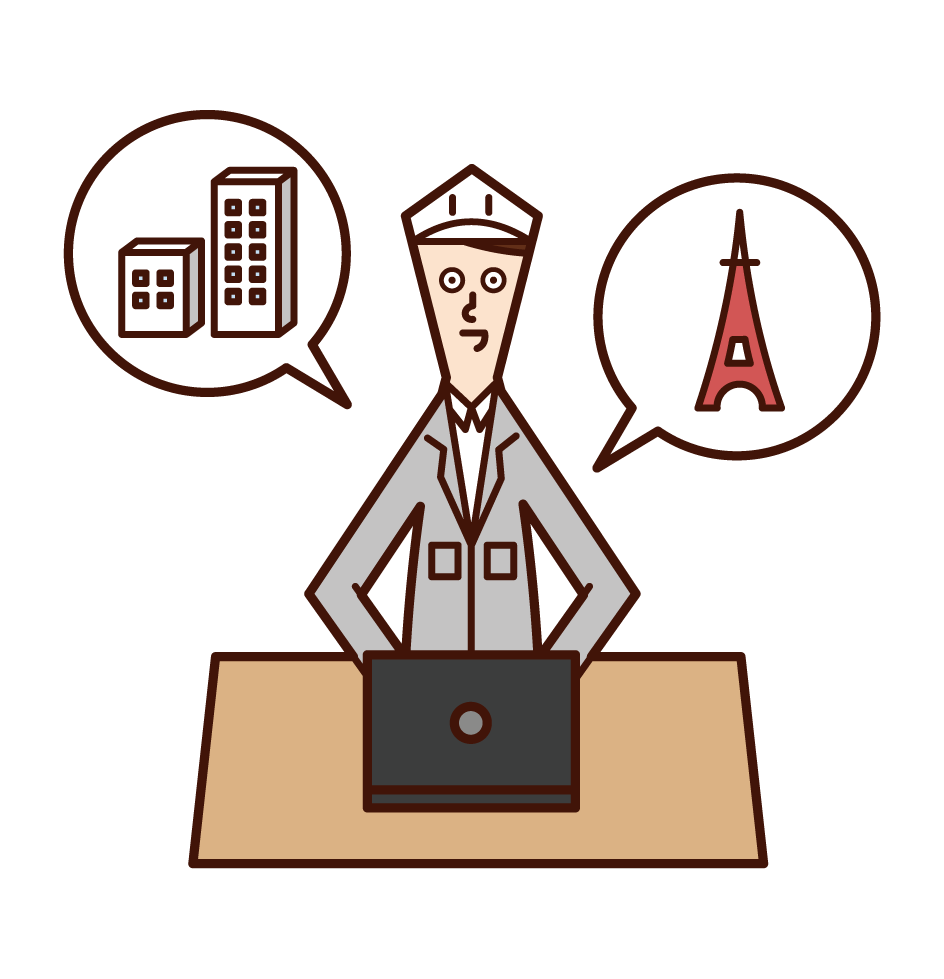 Illustration of a building engineer and engineer (man)