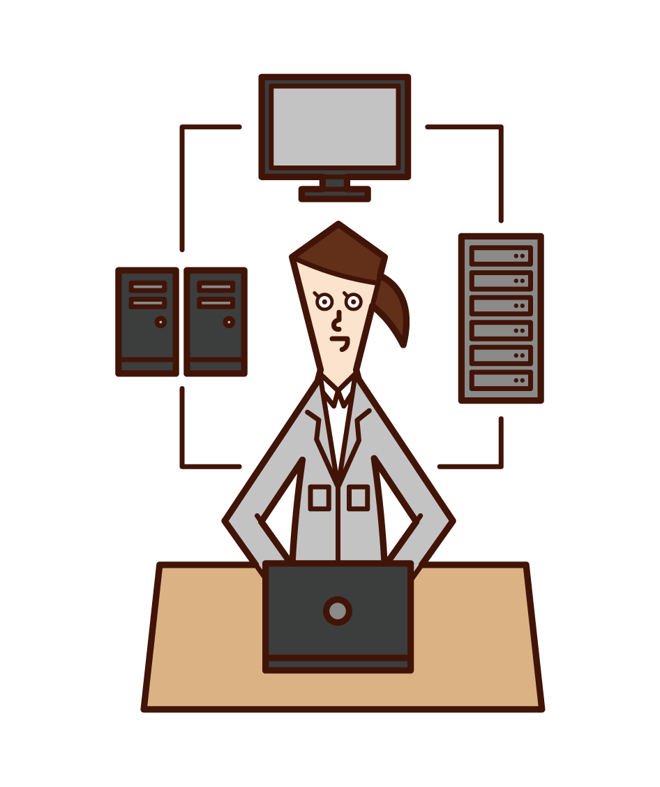 Illustration of information and system development (woman)