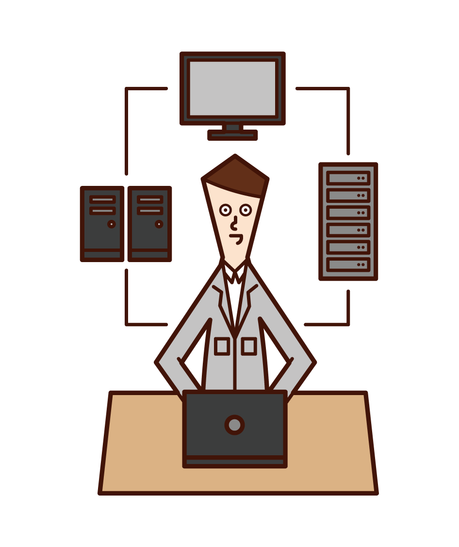 Illustration of information and system development (man)