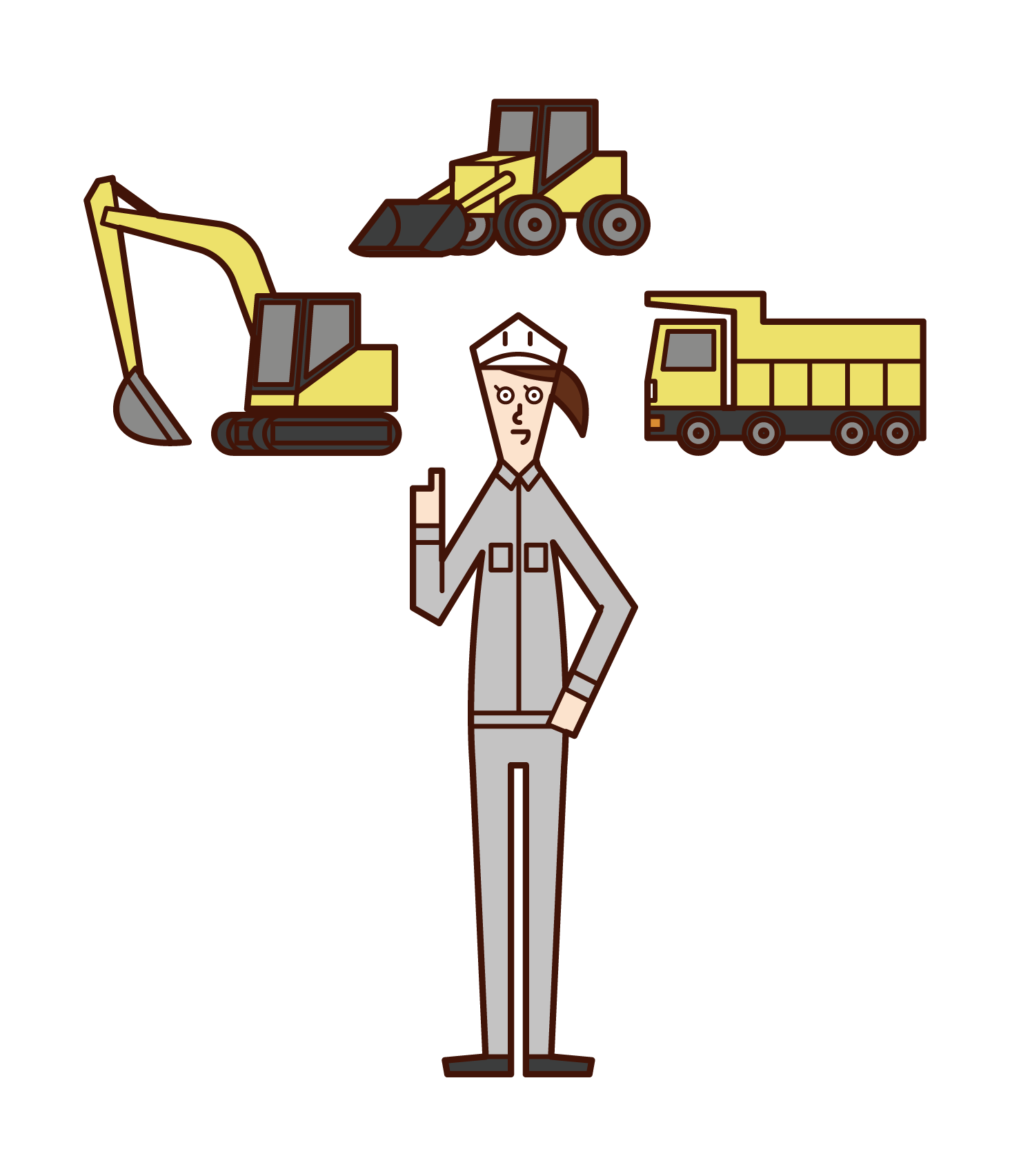 Illustration of heavy machinery operator (woman)
