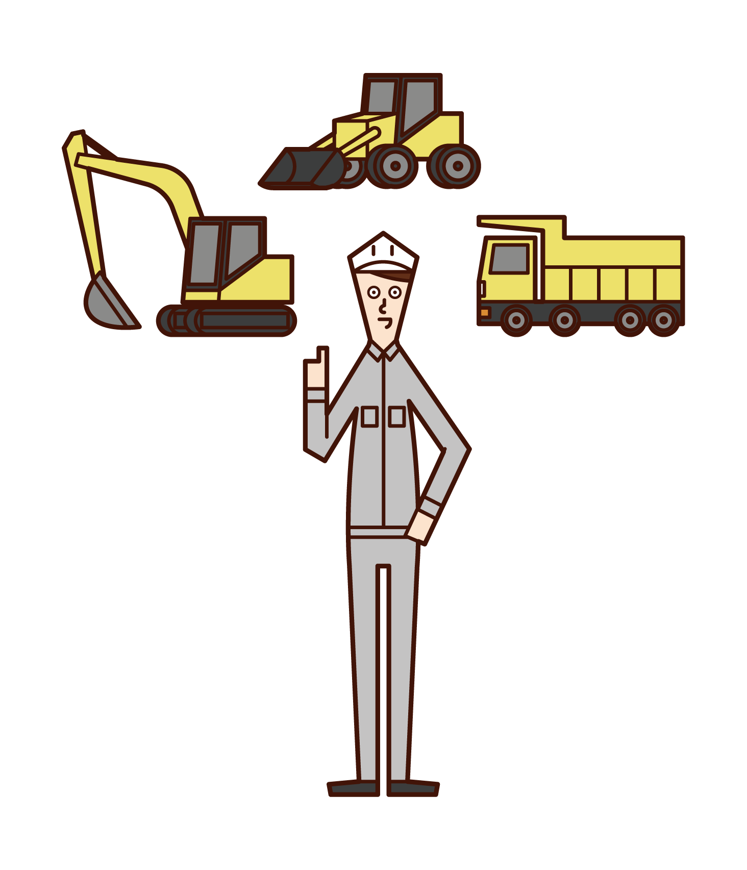 Illustration of heavy machinery operator (man)