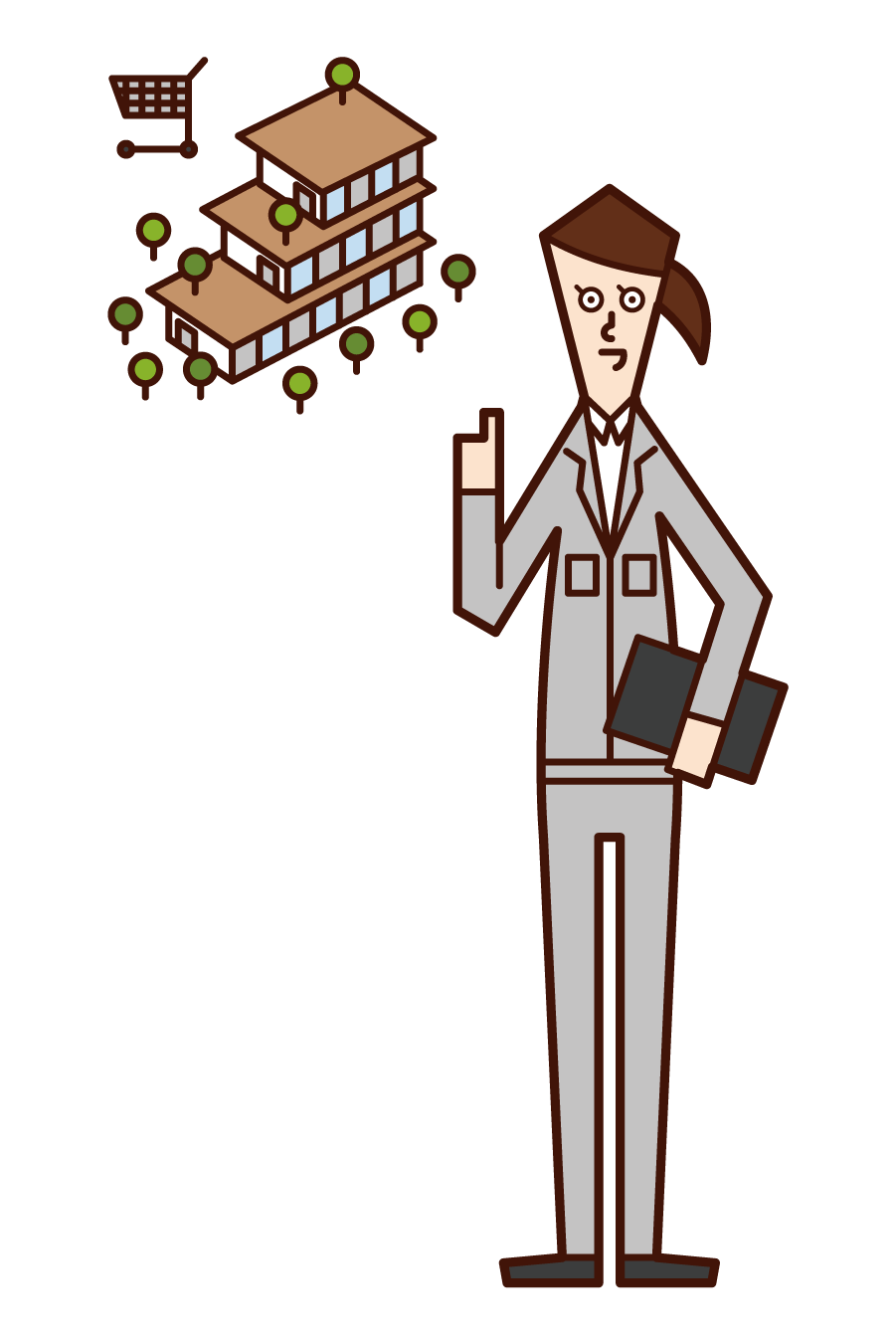 Illustration of a commercial facility worker (woman)