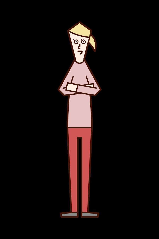 腕を組む人(女性)のイラスト
