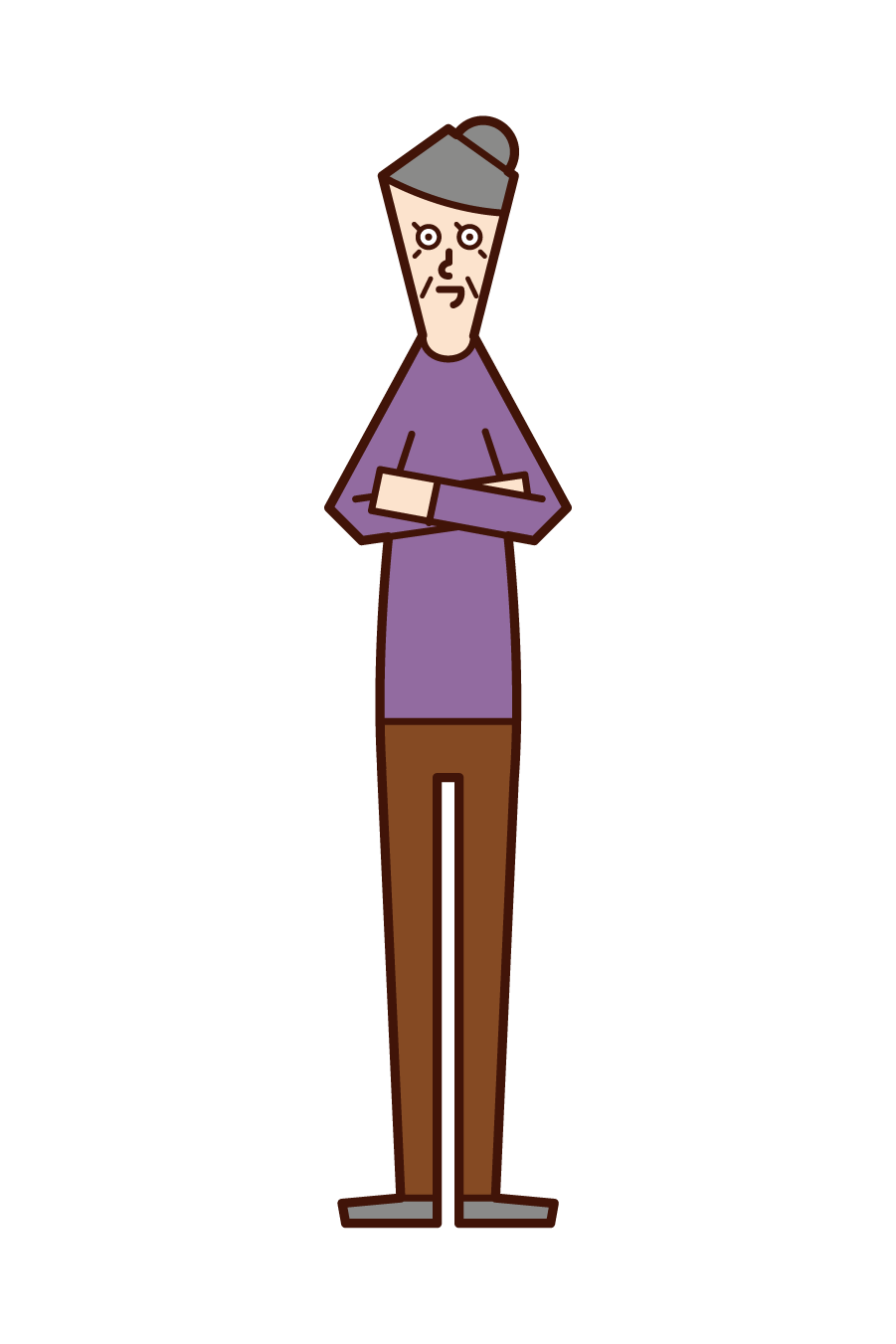 Illustration of an old man (woman) with his arms folded