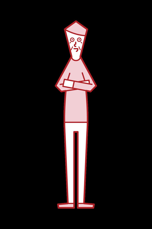 腕を組む老人(男性)のイラスト