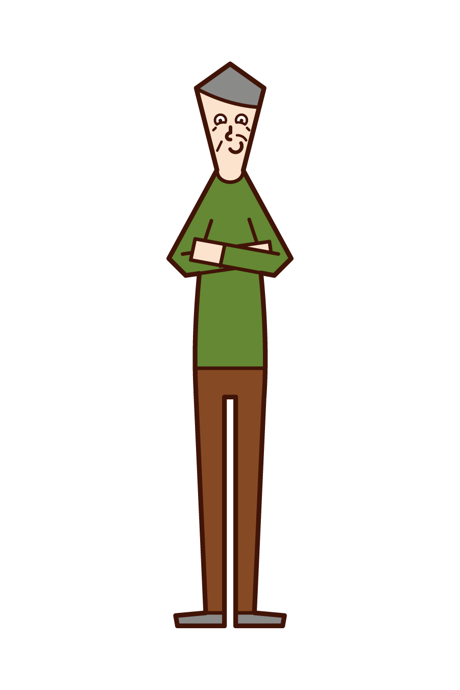 Illustration of an old man looking down