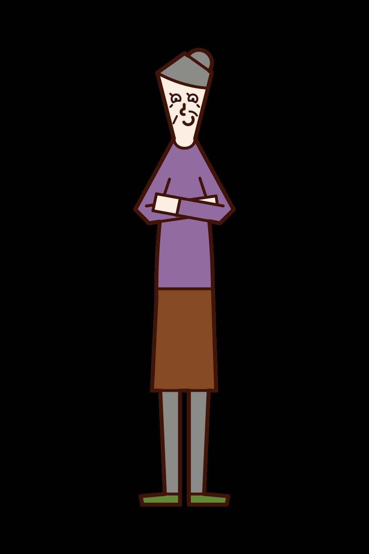 見下す老人(女性)のイラスト